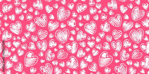 Fotografía Romantic seamless pattern with cute images of hearts on a white background
