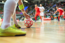 Futsal Match - Close Up Of Bal...