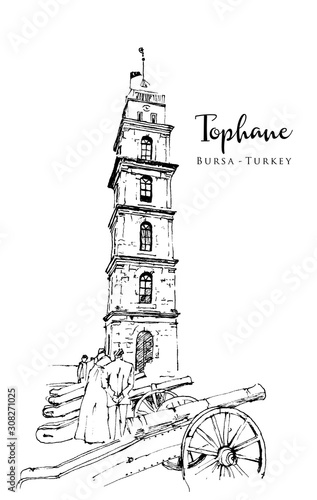 Stampa su Tela Drawing sketch illustration of Tophane, Bursa