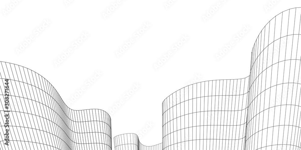 Fototapeta Architecture building construction. Linear 3d illustration. Concept sketch