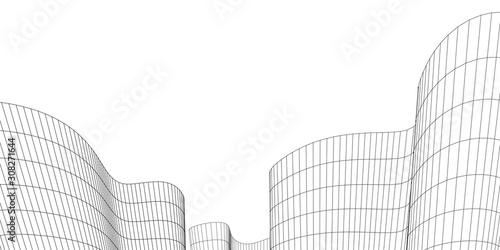 Fototapeta Architecture building construction. Linear 3d illustration. Concept sketch obraz