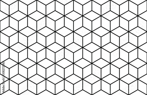 abstract geometric line cube seamless vector background pattern. isometric sh...