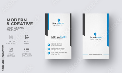 Photo Vertical Business Card Template with Creative Design