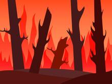 Raging Fire In The Forest. Fir...