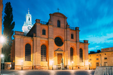 Stockholm, Sweden. Great Church Or Church Of St. Nicholas In Gamla Stan In Summer Evening. Famous Popular Destination Scenic Place In Night Lights. UNESCO.