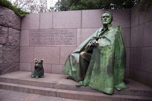 Washington, DC - March 26 2017: Franklin Roosevelt's Statue (with Dog) At The National Mall