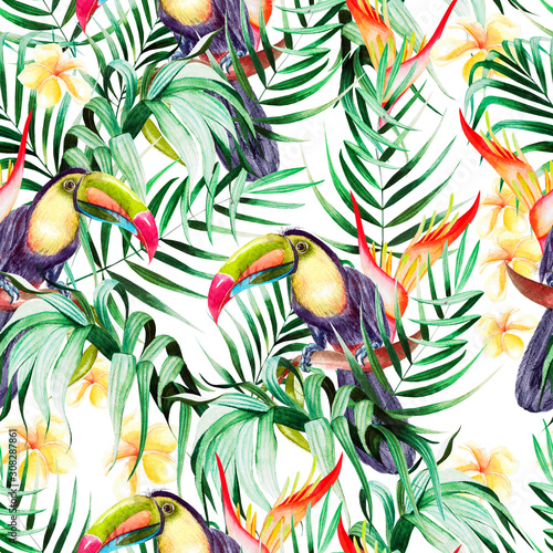 beautiful-watercolor-seamless-pattern-with-tropical-leaves-and-bird-tukan-hibiscus-flowers-and-strelitzia