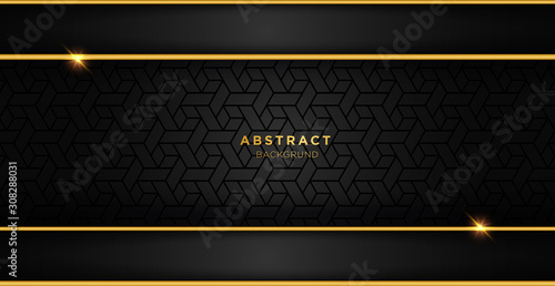 Obraz Black and gold luxury template background with ornament, can be used for premium wedding invitation, banner, golden flyer. - fototapety do salonu