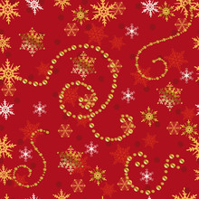 Seamless Pattern. Gold Stars On A Red Background.