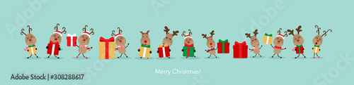 fototapeta na ścianę Holiday Christmas background with Reindeer. Vector illustration