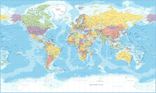 World Map - Political - Vector...