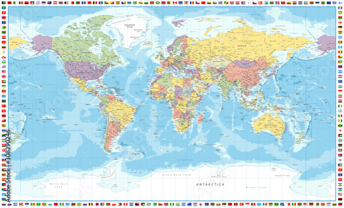 Cuadros en Lienzo World Map Political and Flags - Vector Detailed Illustration
