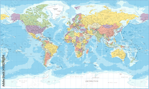 World Map - Political - Vector Detailed Illustration Fotobehang