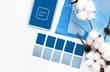 canvas print picture designer desktop. Color sample guide blue.