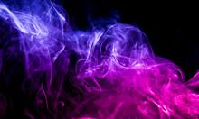 Colored Smoke On Black Backgro...