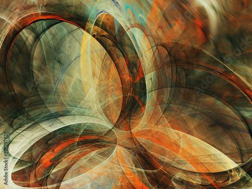 Obraz orange abstract fractal background 3d rendering illustration - fototapety do salonu