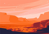 vector illustration of landscape of the Martian surface, the red planet
