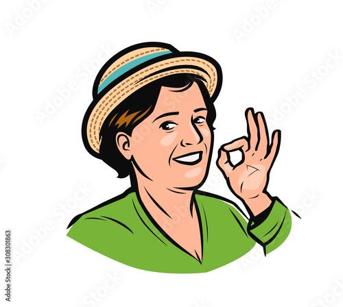 Portrait of happy woman in hat. Farmer logo vector illustration Canvas Print