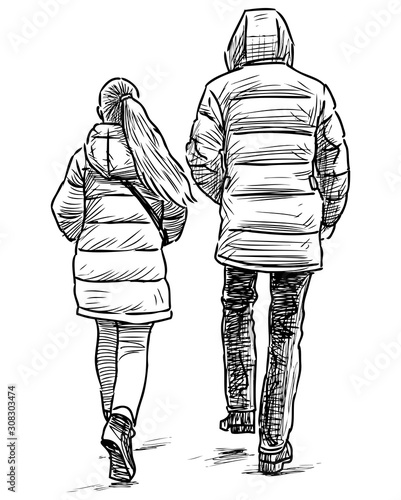 Photo Sketch of teen girl with her father walking down street