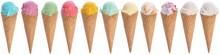 Colorful Ice Cream Cones On White