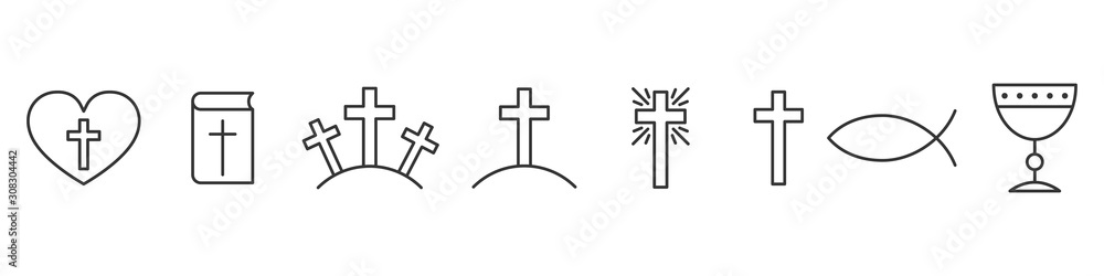 Fototapeta Set of outline christian icons. Religion icons