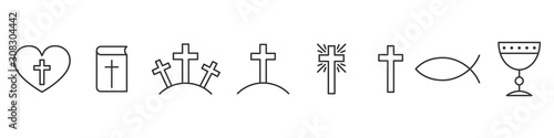 Photo Set of outline christian icons. Religion icons