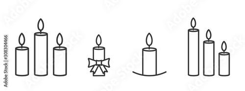 Carta da parati Set of outline burning christmas candles icons.