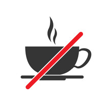 No Coffee Cup Sign On White Ba...