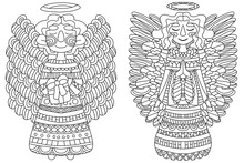 Two Flying And Praying And Smiling Angels. Detailing Christmas Coloring Page For Adult And Kid. Simple Outline Illustration. One Of A Series.