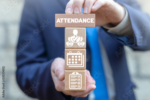 Photo Attendance Mark Business School Concept.