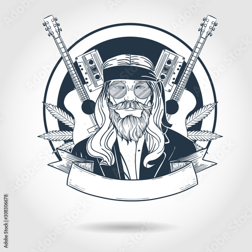 Fotografia Hand drawn sketch hippie man