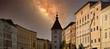 canvas print picture - Lederer Turm in Wels Oberösterreich mit Milchstraße