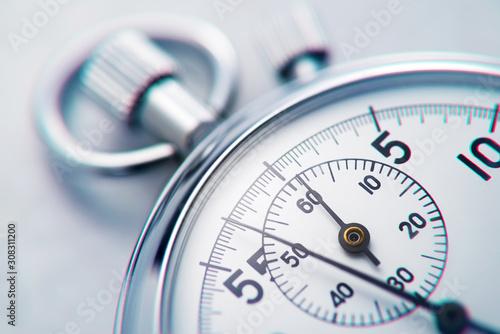 Fototapeta Classic metallic chrome mechanical analog stopwatch obraz