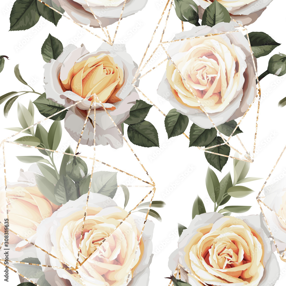 Fototapeta Seamless floral pattern with flowers on light background. Template design for textiles, interior, clothes, wallpaper. The geometry of the crystal. Golden texture. Vector illustration