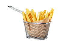 French Fries In Paper In Metal...