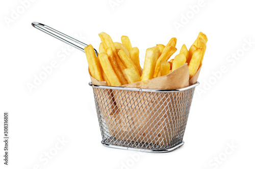 Fotografie, Tablou French fries in paper in metal wire basket isolated
