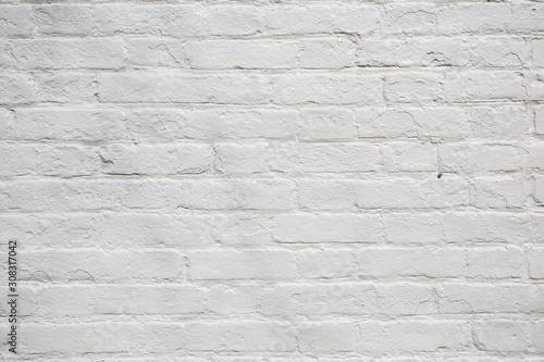 Rustic style painted white brick wall background Billede på lærred
