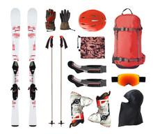 Flat Lay Of Mountain Ski Equip...