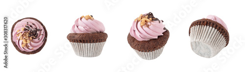 Top, side and front views of cupcake with pink cream decorated with chocolate and nuts Canvas Print
