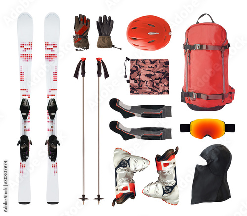 Fotomural Flat lay of mountain ski equipment and alpine accessories