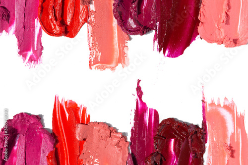 Fotografiet Creative concept photo of cosmetics swatches beauty products lipstick on white background