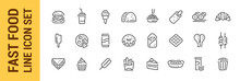 Fast Food Line Icon Set. Burge...