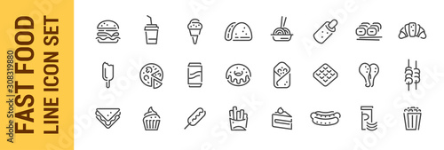 Fototapeta Fast food line icon set. Burger sandwich pizza hot dog cola coffee sweets obraz