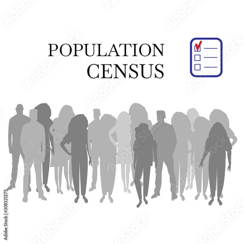 Electronic population census a diverse silhouettes group of people Fototapet
