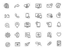 Set Of Linear Social Media Ico...