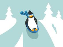 Winter Sledding Penguin Charac...