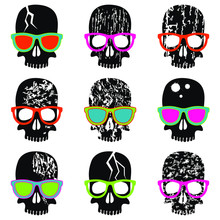 Seamless Pattern. Set Of Skulls With Different Textures. Black Skulls In Multi-colored Glasses On A White Background. Vector Illustration