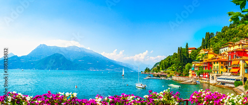 Fototapeta Varenna town, Como Lake district landscape. Italy, Europe. obraz