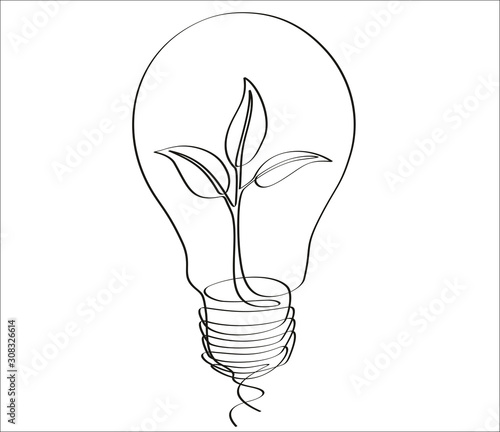 Continuous one line drawing little shoot grow in a light bulb Poster Mural XXL