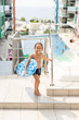 Kids enjoying in pool underwater enjoying in summer resort at pool with air mattress